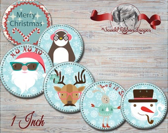 Hip Fun Snow Filled Christmas Bottle Cap images - 1 in circles - 600dpi, Collage Sheet, cupcake toppers, Gift Tags, BottleCaps