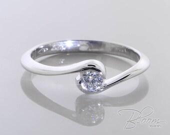 Bezel Engagement Ring Low Profile Engagement Ring Real Diamond Ring Comfort Engagement Ring White Gold Engagement Ring White Gold Ring