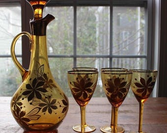Vintage Amber Glass Floral Painted Liquor Decanter and Wine Glasses Set Romania