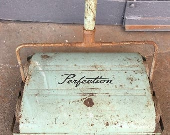 Vintage Perfection Commercial Carpet Floor Sweeper Rustic Mint Green