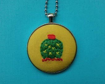 Embroidered cactus necklace | hand embroidered cactus necklace, cactus necklace, embroidered jewelry, melon cactus necklace, gift for her