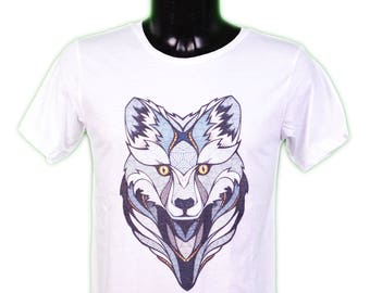 Fox graphic T-SHIRT - illustration - arty - white - graphic fox men t-shirt sizes s-m-l-xl whithe
