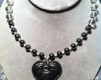 Hematite and crystal beaded necklace