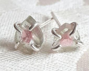 Watermelon Tourmaline Slice Stud Earrings - Silver Stud Earrings - Raw Crystal Earrings - Tourmaline Earrings - Rough Stone Earrings