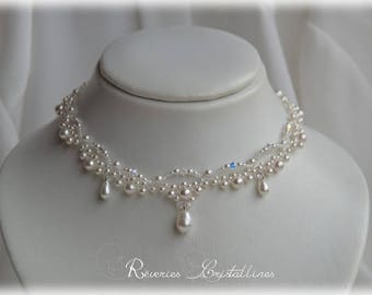Bridal necklace pearl beads, Swarovski crystals, mini seed beads - pearly necklace, bridal necklace, wedding jewelry white necklace