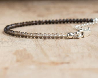 Smoky Quartz  Bracelet in Silver or Gold, Ombre Stacking Bracelet, Smokey Quartz Jewellery, Smoky Grey Ombre Crystal Bracelet