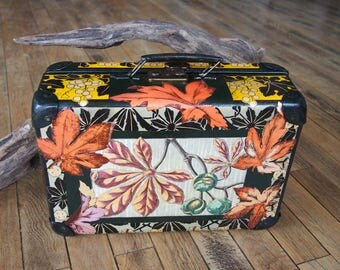 """Small suitcase old """"Autumn"""" with collage of art nouveau patterned prints"""