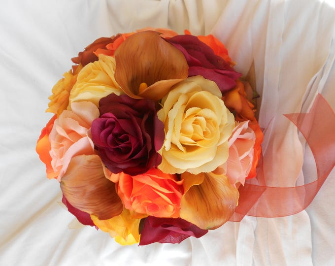 Fall wedding bridal bouquet set 17 pieces made of roses , gerberas, callas in shade of orange, yellow. peach ,coral and burgundy