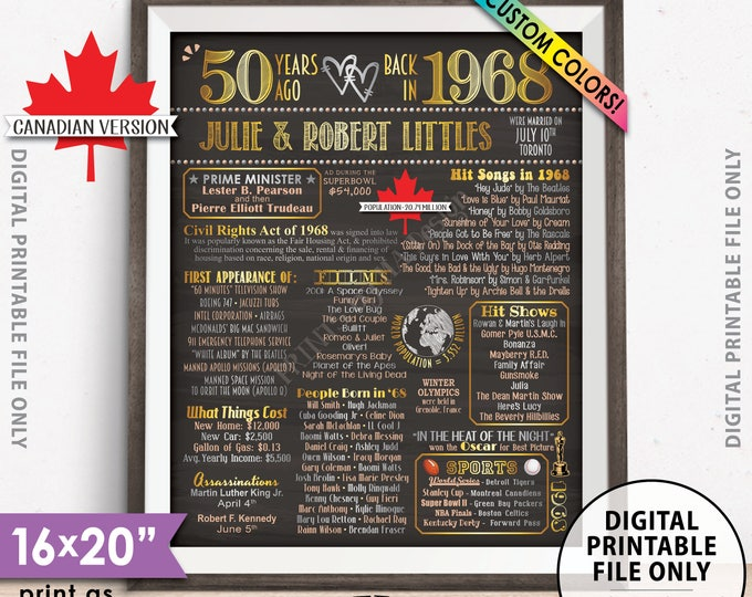 """50th Anniversary Gift, Married in 1968 in CANADA Flashback to 1968 Anniversary Poster, 50 Years, Chalkboard Style PRINTABLE 8x10/16x20"""" Sign"""