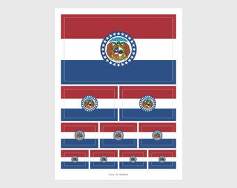 Missouri State Flag Weatherproof Sticker Sheet / 10 Missouri State Stickers Various Sizes