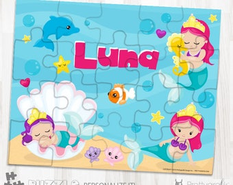SALE Baby mermaid personalized puzzle, 20 pieces puzzle, name puzzle, Personalized name puzzle, Kids Personalized Gift, planets- PU192