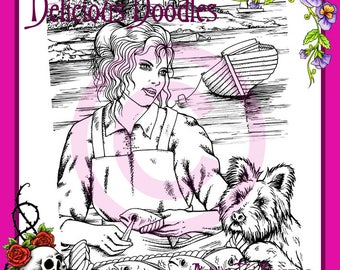 Fisherwoman Illustration, Colouring Page, Coloring Page, Digital Stamp