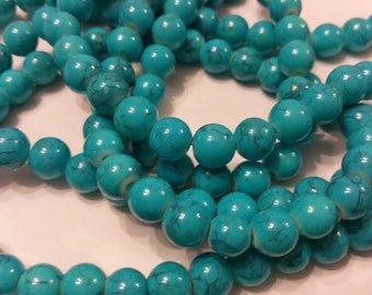 18 glass beads 8mm turquoise round