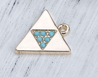 Gold triangle 17x16mm blue green Rhinestone Charm
