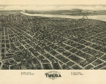 Tulsa OK Panoramic Map dated 1918. This print is a wonderful wall decoration for Den, Office, Man Cave or any wall.