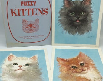 Fuzzy Kittens Color Prints/1961 Donald Art Co. Inc/Vintage Nursery Print/Florence Kroger/Vintage Kitten Prints/Nursery Art/1961 Litho Print
