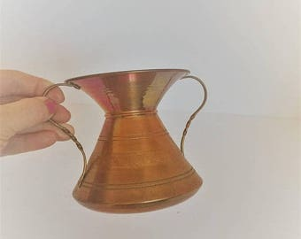 ON SALE copper vase vintage copper vase etched copper urn style vase decorative copper vase farmhouse copper decor solid copper vase