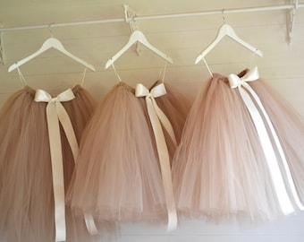 Tutu, girls tutu, flower girl tutu, flower girl dress, latte tutu, champagne tutu, baby tutu, tulle skirt, birthday tutu, wedding tutu