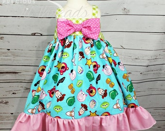 Baby- Toddler- Girls Vacation Dress - Big Bow Dress or Tunic made with Disney Toy Story Fabric Size 6m, 12m, 18m, 2t, 3t, 4t, 5t, 6,
