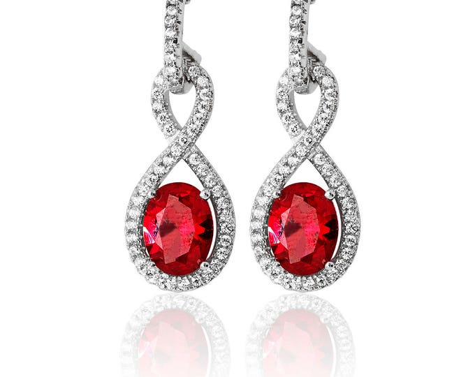 INFINITY Shape CZ & RUBY Drops  Sterling Silver 925  Fancy Earring Rhodium Plated- Ideal Gift For Birthday Her Mom