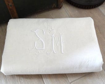 Antique Monogram Linen and Cotton Sheet - French Vintage Embroidered Bed Linen