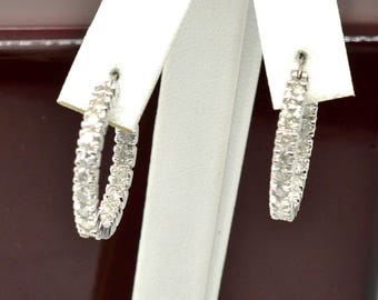 High End Endless Diamonds 2.16ctw Genuine Diamond 14k White Gold Hoop Earrings