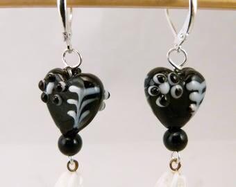 Black Lampwork Heart Earrings, E0223