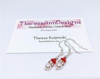 Pearl Earrings, Crystal Earrings, Pearl Drops. Crystal Drops, Siam amd Crystal White Earrings, Gift for Her