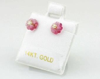 14k Swarovski Flower Stud Earrings, 14k Swarovsky Screw Back Earrings, Cute Swarovsky Earrings, Multi Color Swarovsky Studs Earrings, Girls