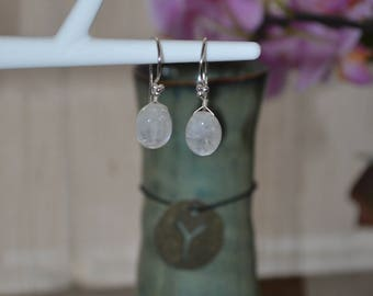 Silver earrings with lovely blue iridescent moonstone.