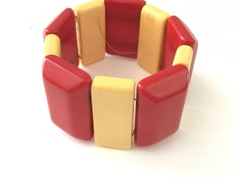 Vintage Red and Yellow Bakelite Stretch Bracelet