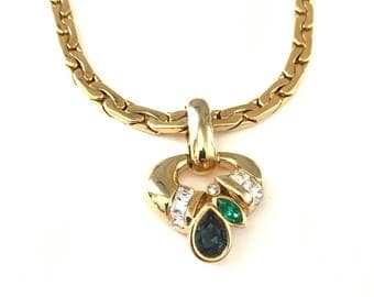 Vintage Designer Signed Museum Style Jeweled Etruscan Inspired Pendant Necklace