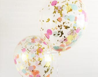 Rainbow Confetti Balloons Confetti Balloons Smash Cake Props Rainbow Party Unicorn Party Rainbow Balloons Rainbow Confetti Party Decor