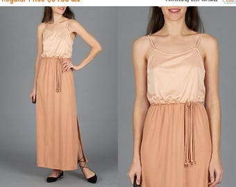 ON SALE Vintage 70s Peach Grecian Dress