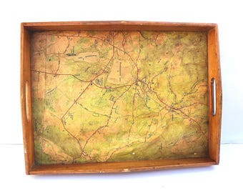 Vintage Map tray -- Wood Map Tray -- Connecticut Map Tray -- New England Map Tray -- Map Tray Vintage -- Vintage Breakfast Tray -- Map Tray