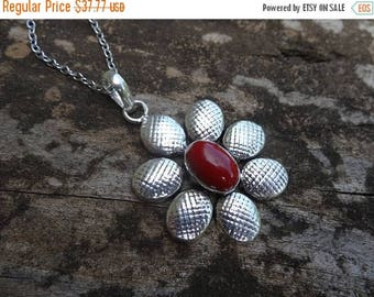"""Sale Sterling Silver Natural Red Coral Pendant Necklace - STERLING Silver 18"""" chain - Boho Chic Necklace - Natural Stone Pendant"""