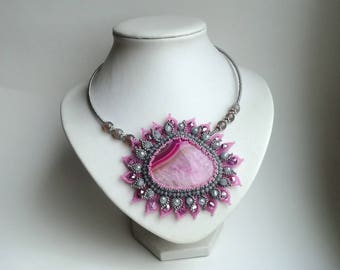 Agate Beadwork Necklace, Seed Bead Necklace, Gemstone necklace, Pink/ Grey necklace, crystals necklace, flower necklace