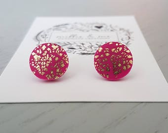 Polymer clay earrings/ pink and gold/ clay stud earrings/ polymer clay jewellery/ gold studs/ polymer clay/ earrings/ gold