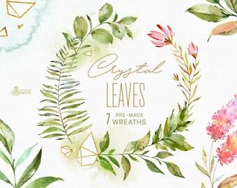 Crystal Leaves. 7 Wreaths. Watercolor floral & polygonal clip art, leaf, gold, green, geometry, wild, wedding, bridal template, minimalistic