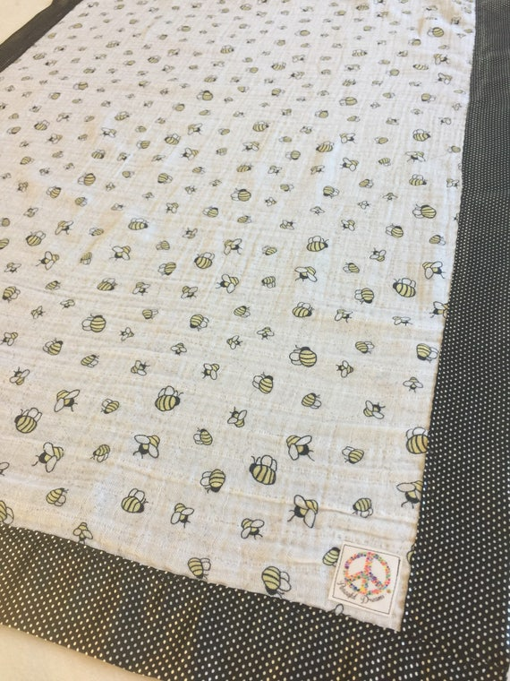 Bumblebee double gauze backed and edged with silky soft Satin, 30x40 baby blanket, Light weight silky blanket, baby shower gift, baby gift