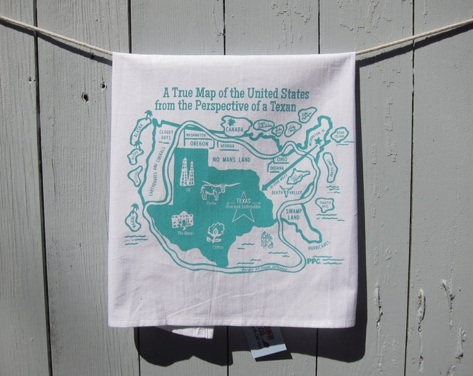 Map of the United States From the Perspective of a Texan - Texas Tea Towel