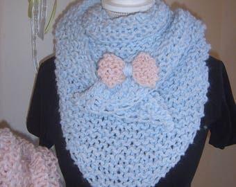Trendy shawl handmade sky blue