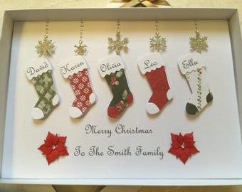 Personalised Family Christmas Stocking Card Handmade Keepsake Holidays Boxed