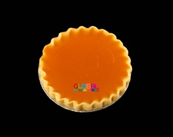 Dollhouse Miniatures Handcrafted Clay Apricot Round Tart on Aluminum Dish - 1:12 Scale