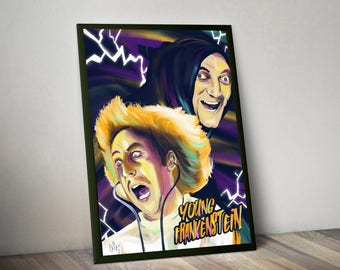 Young Frankenstein - Digital Painting, Gene Wilder, Marty Feldman, horror movie, comedy, poster, vintage, classic poster, gift, painting