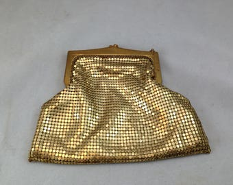 Vintage Whiting and Davis Gold Mesh Bag 5 3/8 by 6 Inches Missing Chain Handle     01424