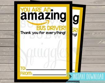 PRINTABLE Amazon Gift Card Holder, Thank You for being an Amazing Bus Driver Gift, End of the Year Gift, Bus Driver Appreciation Printable