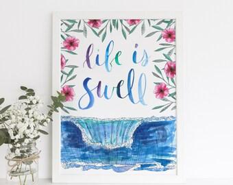 Life is Swell, Surf Art Print, Beach Art Girls Nursery, Hawaii Surfer Girl Guy Art, Surfing Poster, Surfer Art, Surf Quote, Digital Download