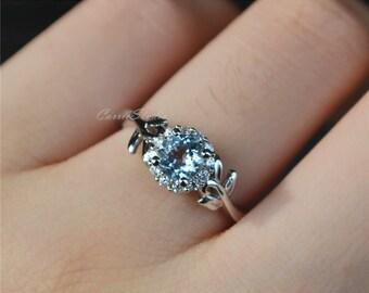 Special Aquamarine Ring Aquamarine Engagement Ring Wedding Ring Sterling Silver Ring Anniversary Ring Birthday Present/Gift