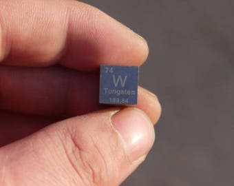 99.95% High Purity Tungsten Metal W 10mm Cube Carved Element Periodic Table